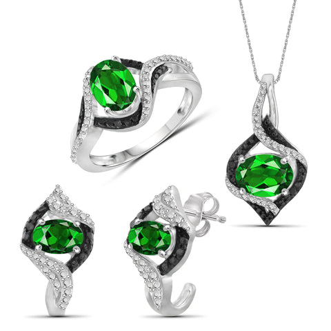 JewelersClub 3.50 Carat T.G.W. Chrome Diopside And 1/10 Carat T.W. Black & White Diamond Sterling Silver 3 Piece Jewelry Set - Assorted Colors