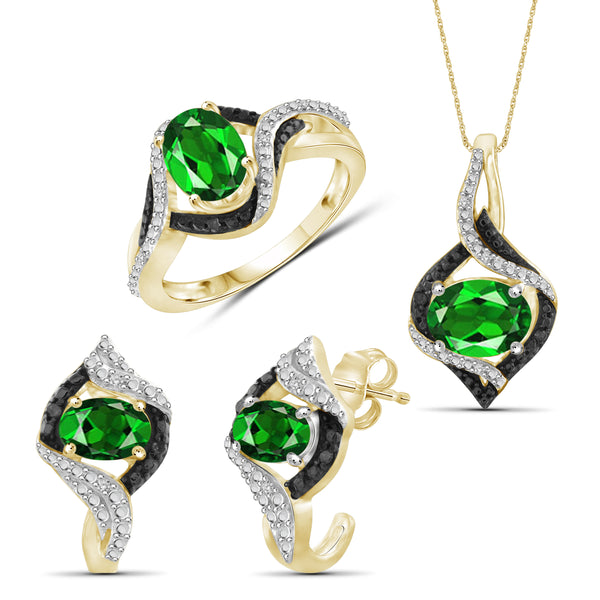 JewelonFire 3.50 Carat T.G.W. Chrome Diopside And 1/10 Carat T.W. Black & White Diamond Sterling Silver 3 Piece Jewelry Set - Assorted Colors