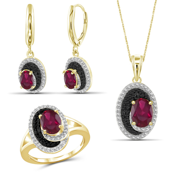 JewelonFire 4.80 Carat T.G.W. Ruby And 1/20 Carat T.W. Black & White Diamond Sterling Silver 3 Piece Jewelry Set - Assorted Colors