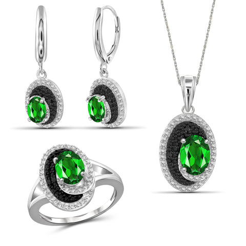 JewelersClub 3.50 Carat T.G.W. Chrome Diopside And 1/20 Carat T.W. Black & White Diamond Sterling Silver 3 Piece Jewelry Set - Assorted Colors