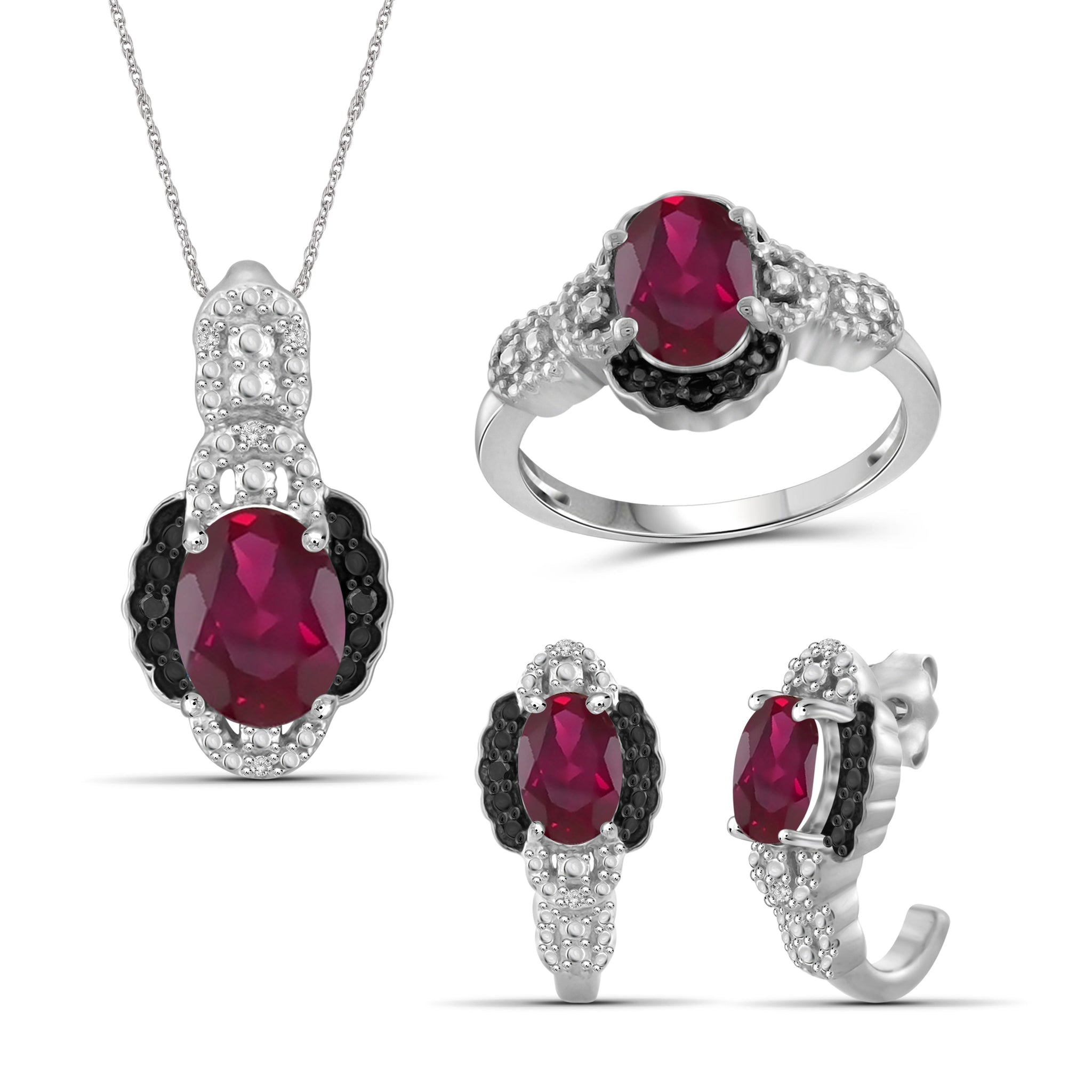 JewelersClub 4.80 Carat T.G.W. Ruby And 1/10 Carat T.W. Black & White Diamond Sterling Silver 3 Piece Jewelry Set - Assorted Colors