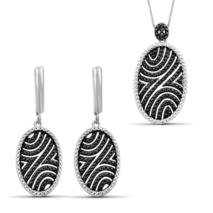 JewelersClub 1/20 Carat T.W. Black And White Diamond Sterling Silver 2 Piece Jewelry Set