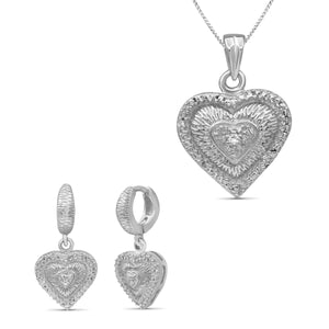 JewelonFire Accent White Diamond Sterling Silver 2 Piece Heart Jewelry Set - Assorted Colors