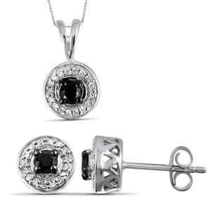 JewelonFire 1/2 Carat T.W. Black And White Diamond Sterling Silver 2 Piece Jewelry Set
