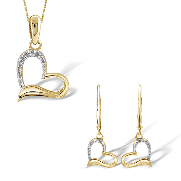 JewelonFire 1/20 Carat T.W. White Diamond Sterling Silver 2 Piece Heart Jewelry Set - Assorted Colors