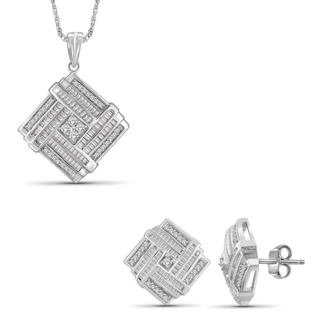 JewelonFire 1.00 Carat T.W.White Diamond Sterling Silver 2 Piece Jewelry Set - Assorted Colors