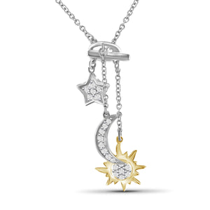 JewelonFire 1/5 Ctw White Diamond Two-Tone Sterling Silver Sun, Moon & Star Pendant