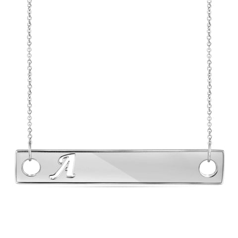 "JewelerClub ""A to Z"" Initial Cutout Bar Necklace in Sterling Silver - Assorted Styles"