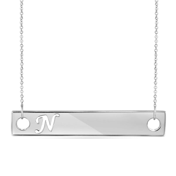 "JewelonFire ""A to Z"" Initial Cutout Bar Necklace in Sterling Silver - Assorted Styles"
