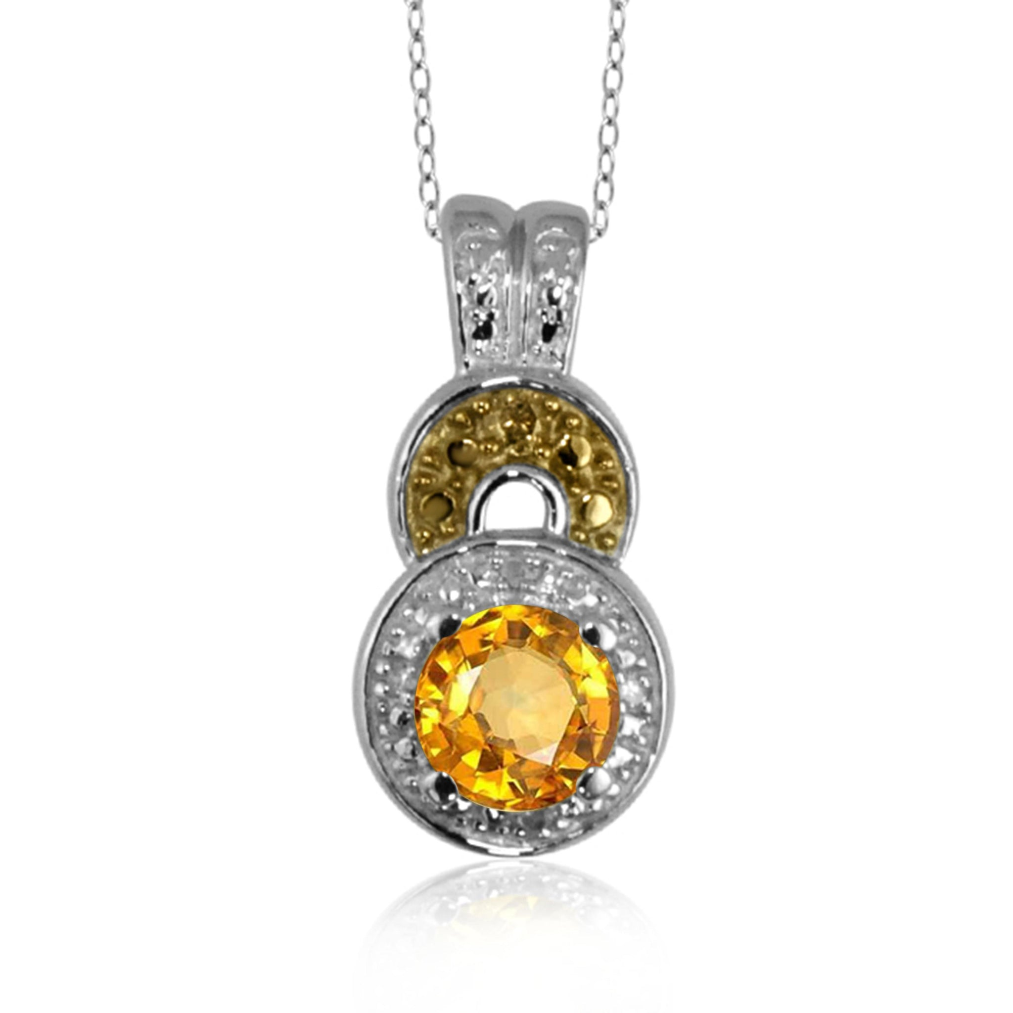 JewelonFire 3/4 Carat T.G.W. Citrine and Champagne & White Diamond Accent Sterling Silver Pendant