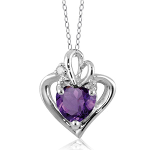 JewelonFire 3/4 Carat T.G.W. Amethyst White Diamond Accent Sterling Silver Heart Pendant