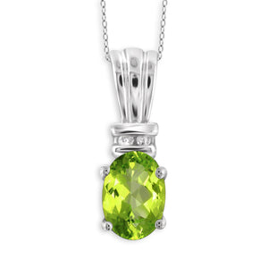 JewelonFire 3/4 Carat T.G.W. Peridot And 1/20 Carat T.W. White Diamond Sterling Silver Pendant - Assorted Colors