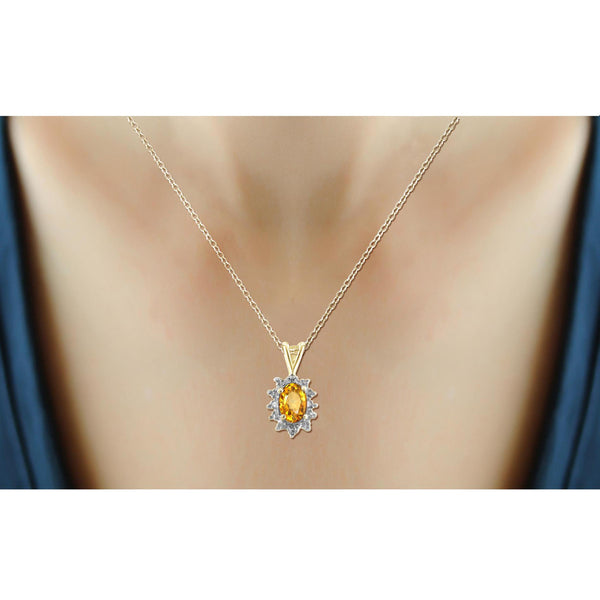 JewelonFire 1/2 Carat T.G.W. Citrine and White Diamond Accent Sterling Silver Pendant - Assorted Colors
