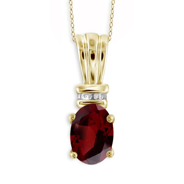 JewelonFire 1.00 Carat T.G.W. Garnet And 1/20 Carat T.W. White Diamond Sterling Silver Pendant - Assorted Colors