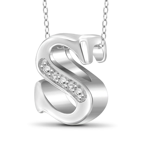 "JewelonFire Yours Truly Diamond Accent Sterling Silver ""A TO Z"" Initial Necklace"