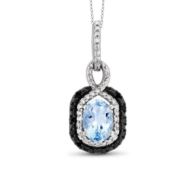 JewelonFire 1.00 Carat T.G.W. Sky Blue Topaz And Black & White Diamond Sterling Silver Pendant - Assorted Colors