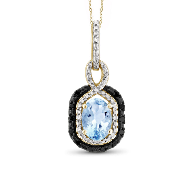 JewelersClub 1.00 Carat T.G.W. Sky Blue Topaz And Black & White Diamond Sterling Silver Pendant - Assorted Colors