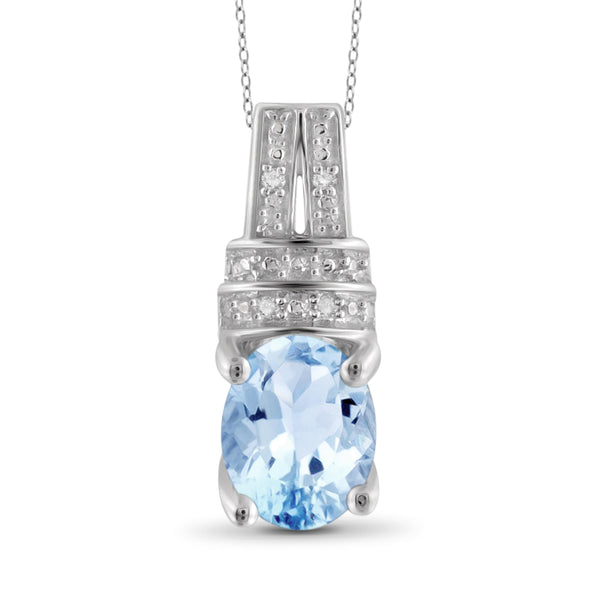 JewelonFire 1 1/2 Carat T.G.W. Sky Blue Topaz And White Diamond Sterling Silver Pendant - Assorted Colors
