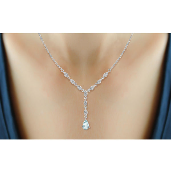 JewelonFire 2 1/4 Carat T.G.W. Sky Blue Topaz And White Diamond Sterling Silver Necklace - Assorted Colors