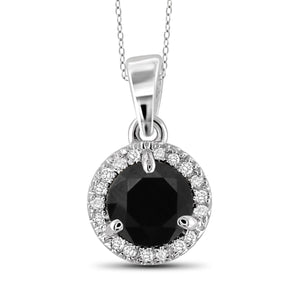 JewelersClub 1.00 Carat T.W. Black And White Diamond Sterling Silver Halo Pendant