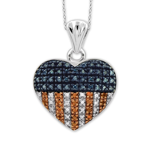 JewelersClub 1/4 Carat T.W. Multi Color Diamond Sterling Silver American Flag Heart Pendant