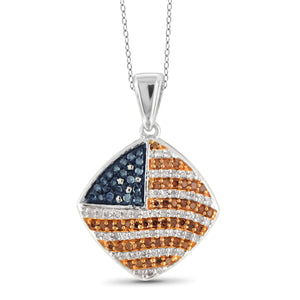JewelersClub 1/3 Carat T.W. Multi Color Diamond Sterling Silver American Flag Pendant
