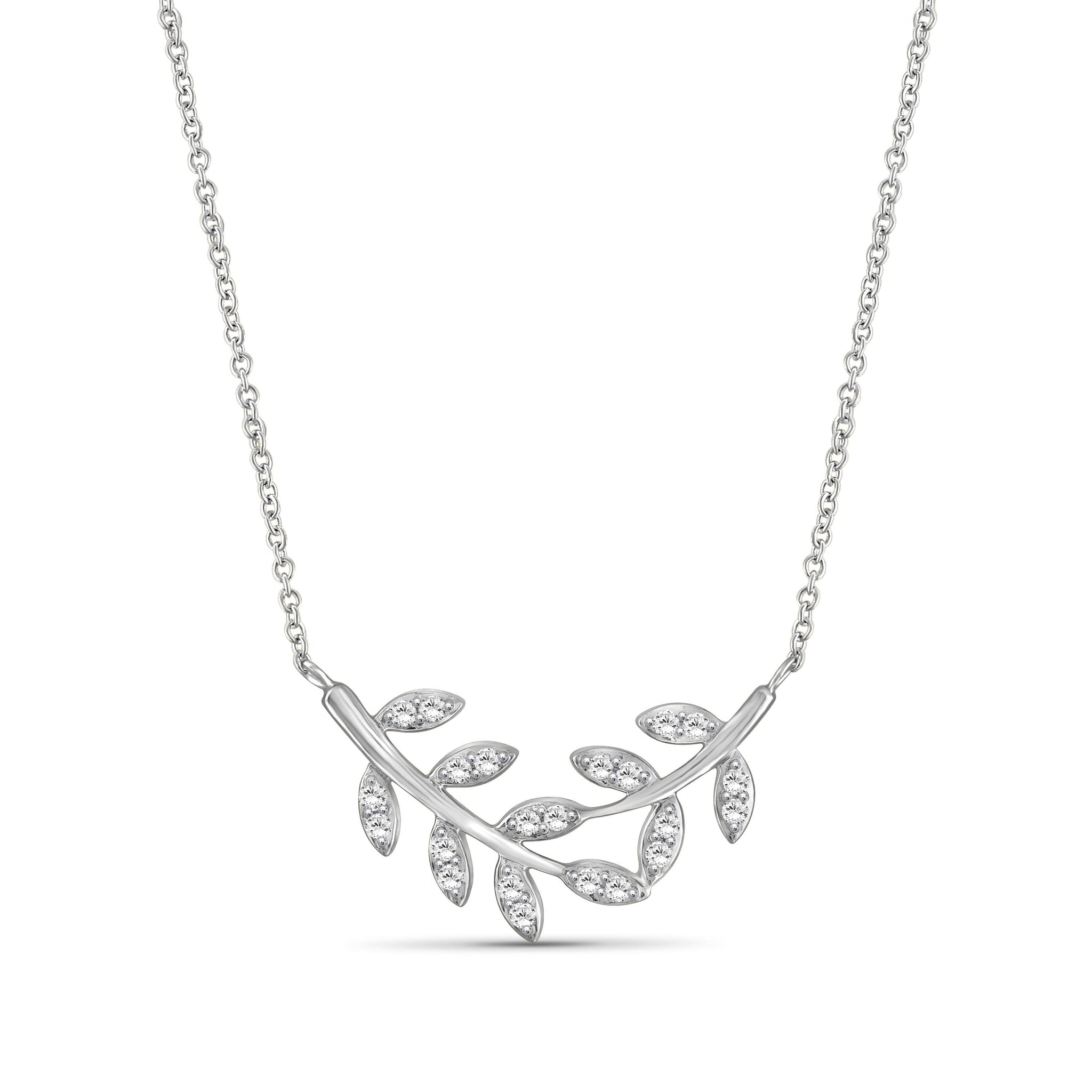 JewelersClub 1/4 Carat T.W. White Diamond Sterling Silver Leaf Necklace - Assorted Colors