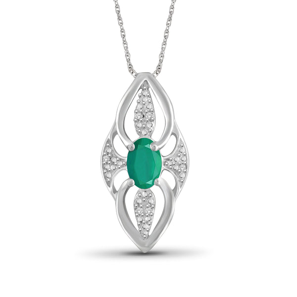 JewelersClub 0.40 Carat T.G.W. Genuine Emerald and Accent White Diamond Sterling Silver Pendant - Assorted Colors