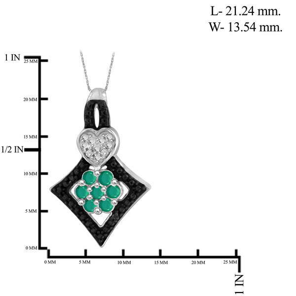 JewelonFire 1.60 Carat T.G.W. Emerald And 1/20 Carat T.W. Black & White Diamond Sterling Silver 3 Piece Jewelry Set - Assorted Colors