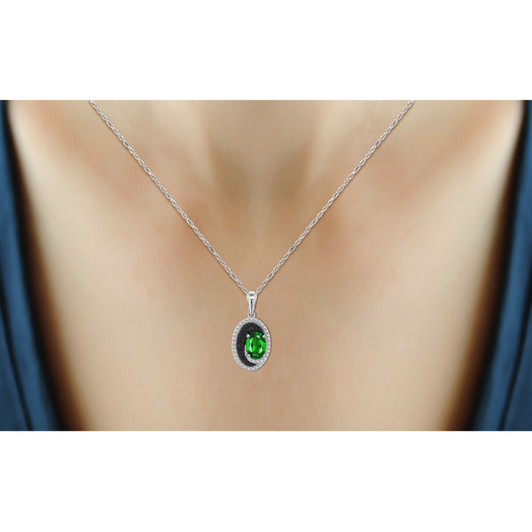 JewelonFire 3.50 Carat T.G.W. Chrome Diopside And 1/20 Carat T.W. Black & White Diamond Sterling Silver 3 Piece Jewelry Set - Assorted Colors