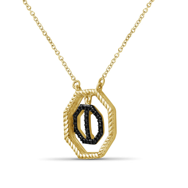 JewelonFire 1/10 Carat T.W. Black Diamond 14k Gold Over Silver Octagon Pendant