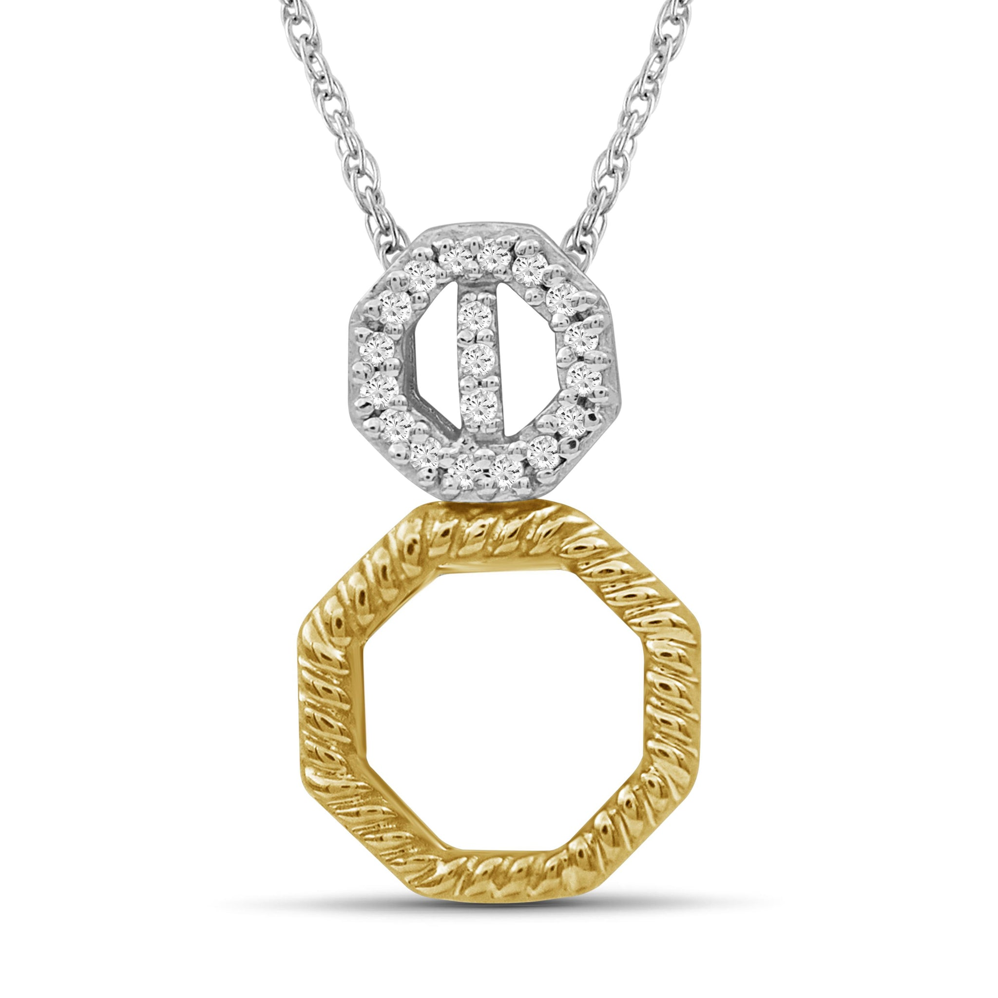 JewlersClub 1/20 Carat T.W. White Diamond Two Tone Sterling Silver Octagon Pendant