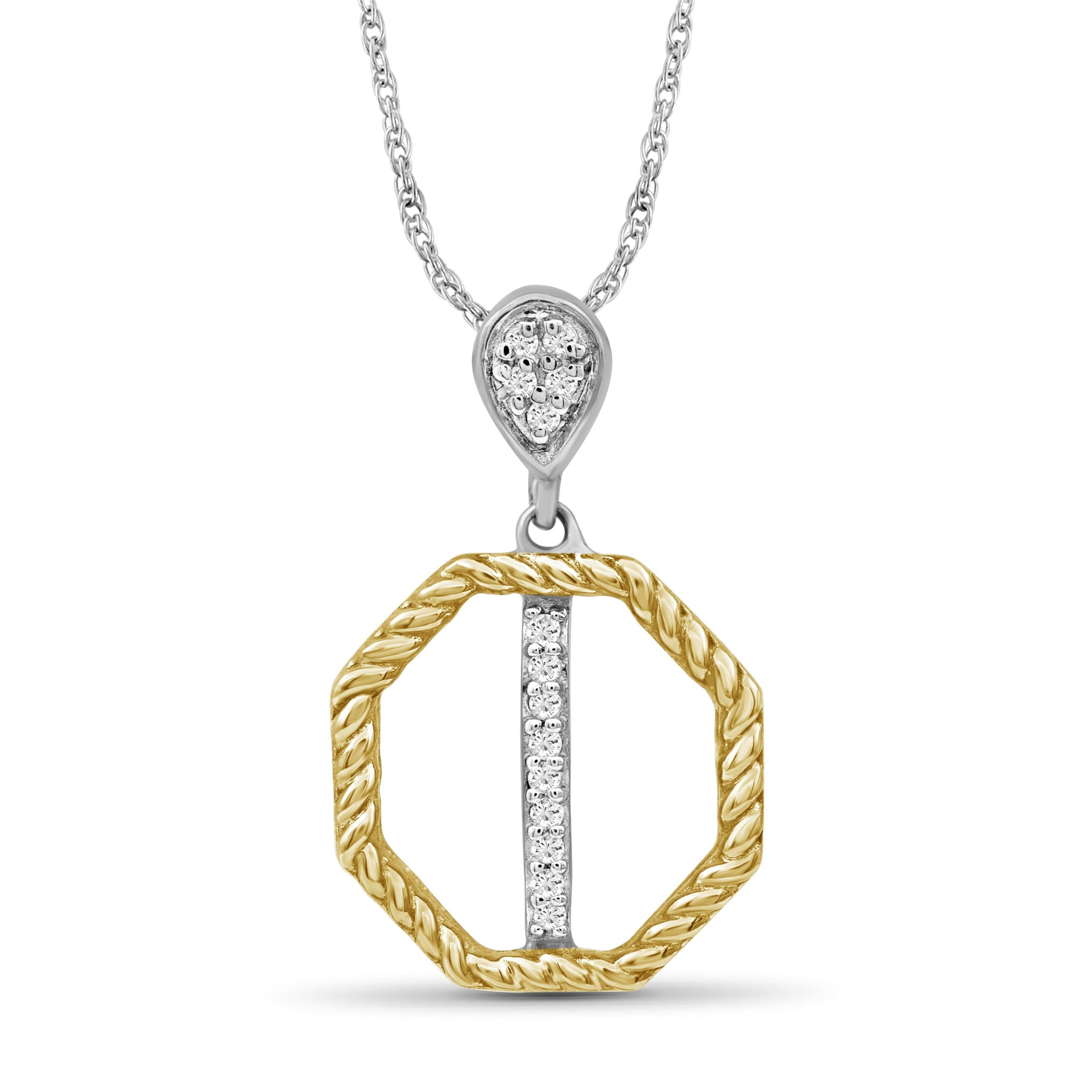 JewelonFire 1/20 Carat T.W. White Diamond Two Tone Sterling Silver Octagon Pendant