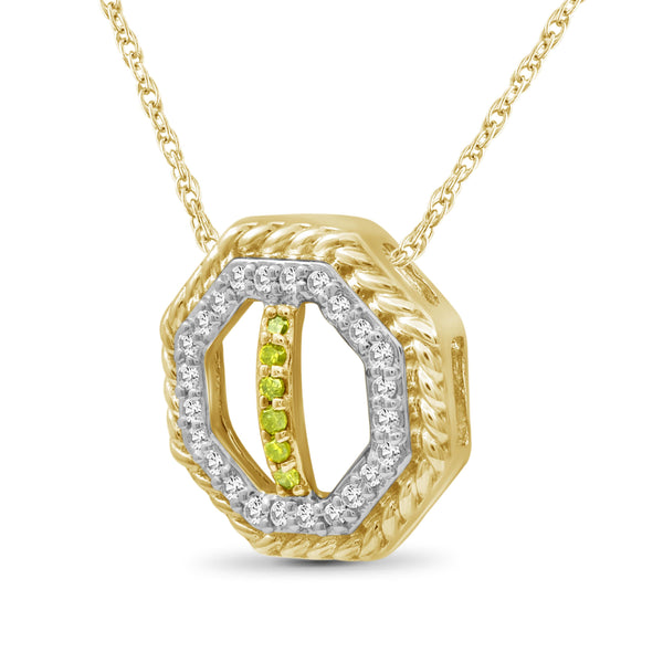 JewlersClub 1/7 Carat T.W. Yellow And White Diamond Sterling Silver Octagon Pendant - Assorted Colors