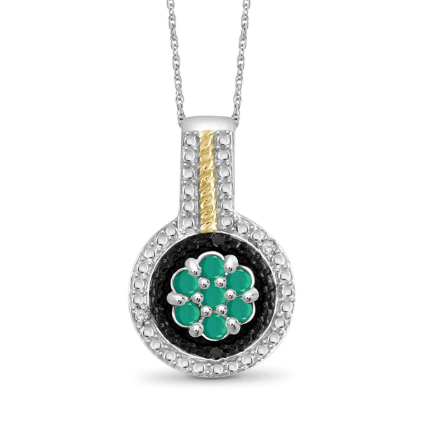 JewelersClub 0.40 Carat T.G.W. Genuine Emerald And Accent Black & White Diamond Two Tone Sterling Silver Pendant