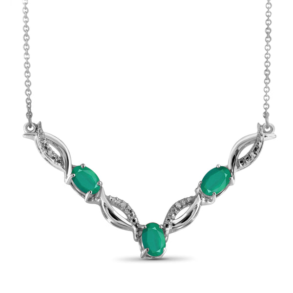 JewelersClub 1.15 Carat T.G.W. Genuine Emerald and Accent White Diamond Sterling Silver Necklace - Assorted Colors