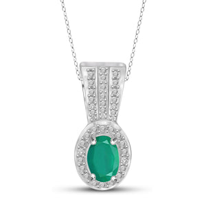 JewelonFire 0.40 Carat T.G.W. Genuine Emerald and Accent White Diamond Sterling Silver Pendant - Assorted Colors