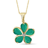 JewelersClub 3.45 Carat T.G.W. Genuine Emerald and Accent White Diamond Sterling Silver Flower Pendant - Assorted Colors
