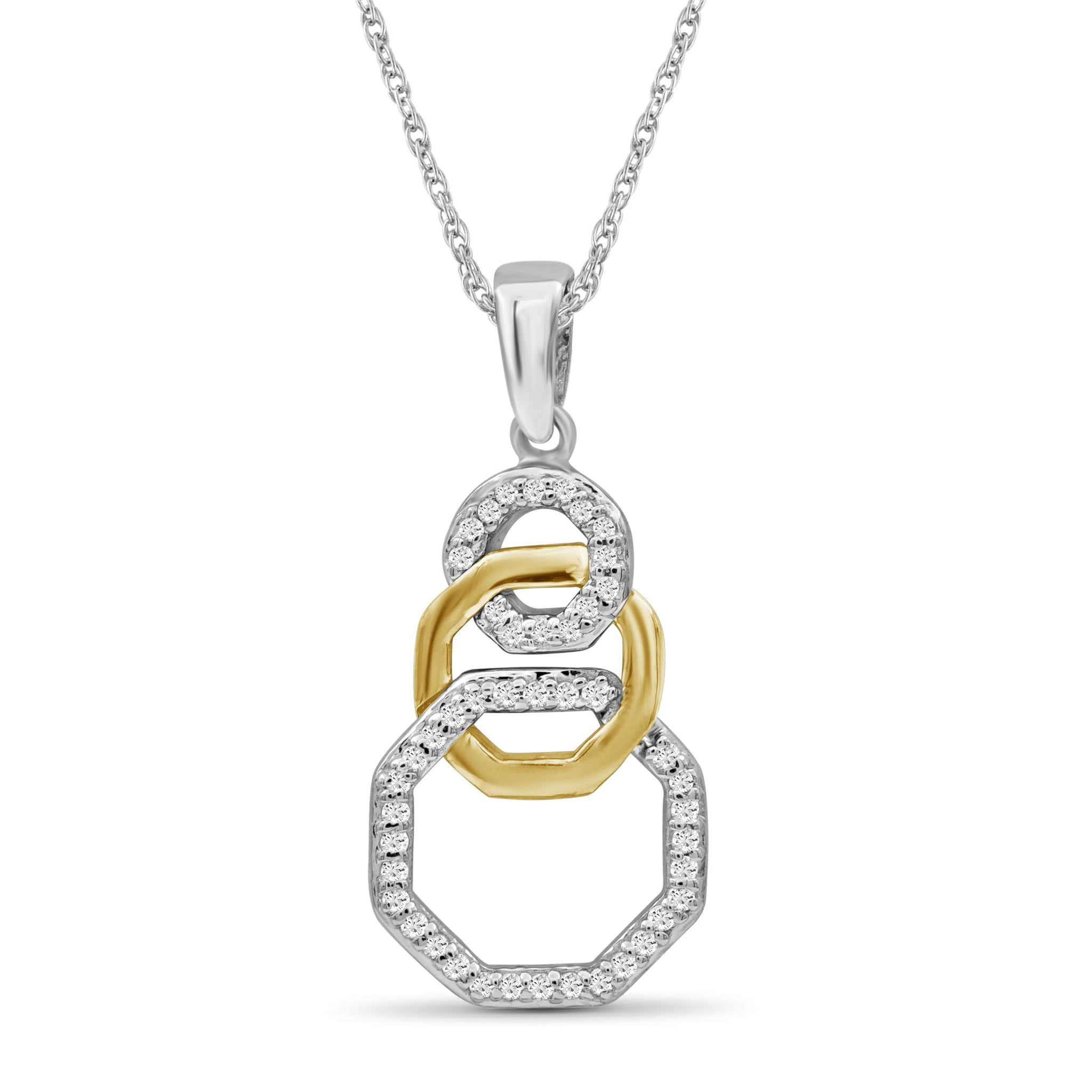 JewelonFire 1/7 Carat T.W. White Diamond Two Tone Silver Octagon Pendant