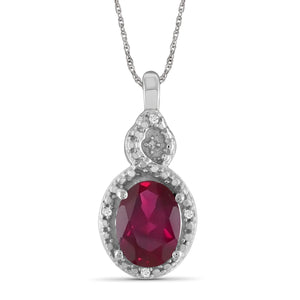 JewelonFire 1.95 Carat T.G.W. Ruby And Accent White Diamond Sterling Silver Pendant - Assorted Colors