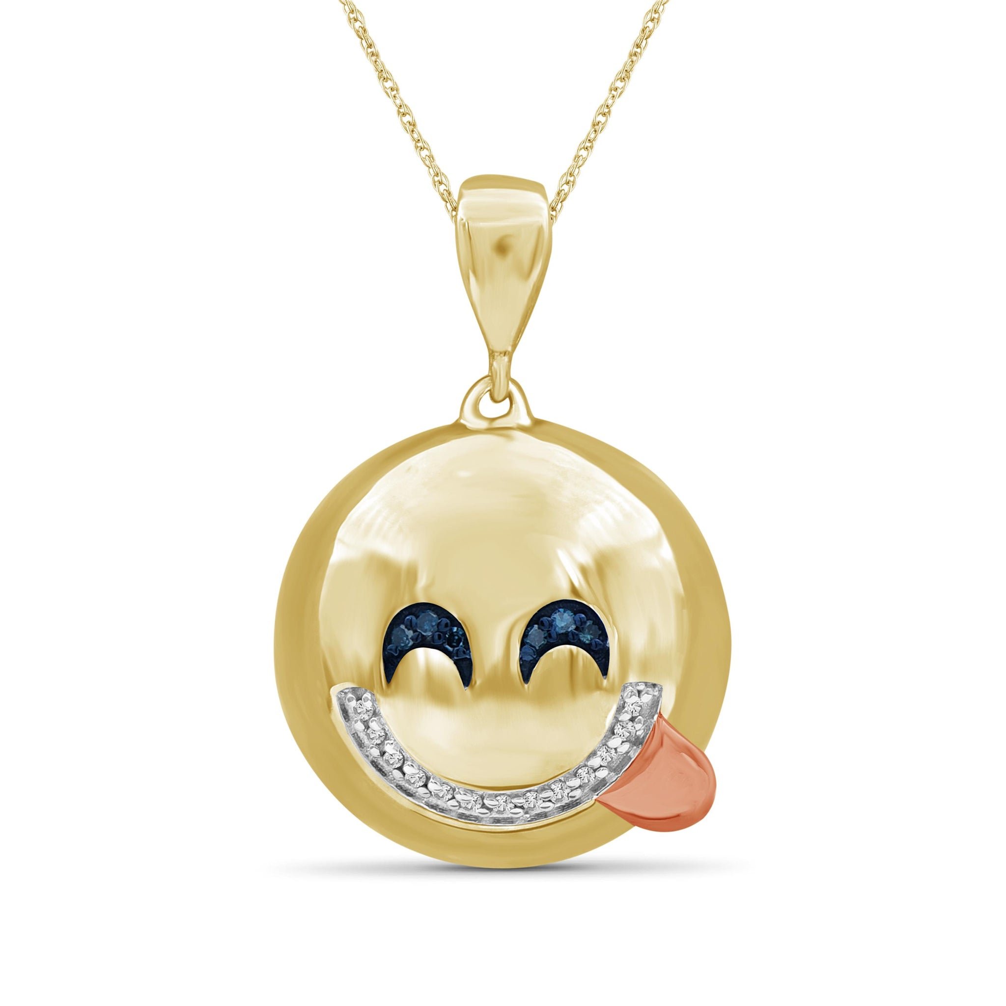 JewelersClub 1/20 Ctw Blue And White Diamond Two Tone Sterling Silver Emoji Pendant