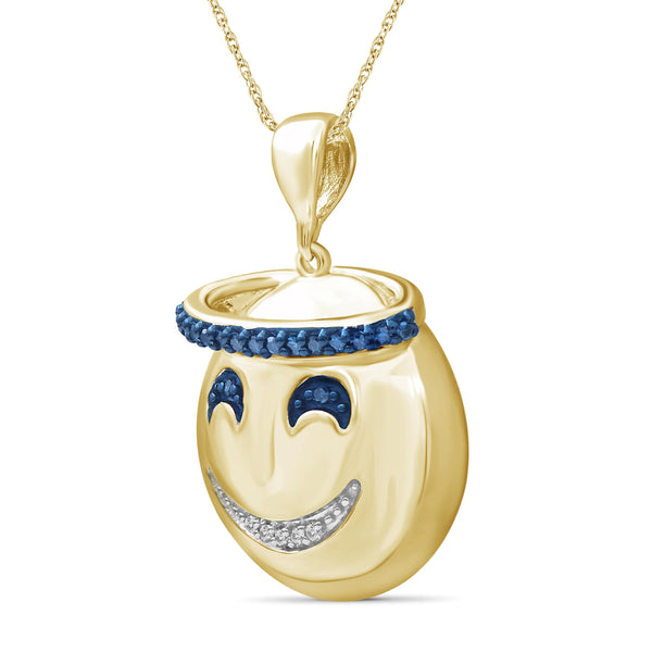 JewelersClub 1/10 Ctw Blue And White Diamond 14k Gold Over Silver Emoji Pendant