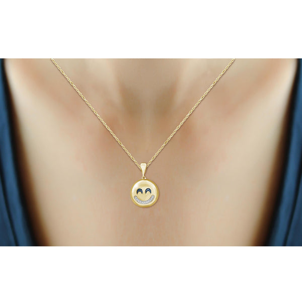 JewelonFire 1/20 Ctw Blue And White Diamond 14k Gold Over Silver Emoji Pendant