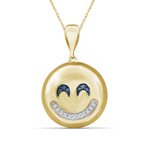 JewelersClub 1/20 Ctw Blue And White Diamond 14k Gold Over Silver Emoji Pendant