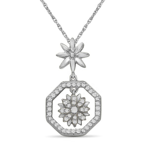 JewelonFire 1/7 Carat T.W. White Diamond Sterling Silver Flower Octagon Pendant - Assorted Colors