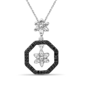 JewelonFire 1/7 Carat T.W. Black And White Diamond Sterling Silver Flower Octagon Pendant - Assorted Colors