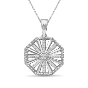 JewlersClub 1/7 Carat T.W. White Diamond Sterling Silver Octagon Pendant - Assorted Colors