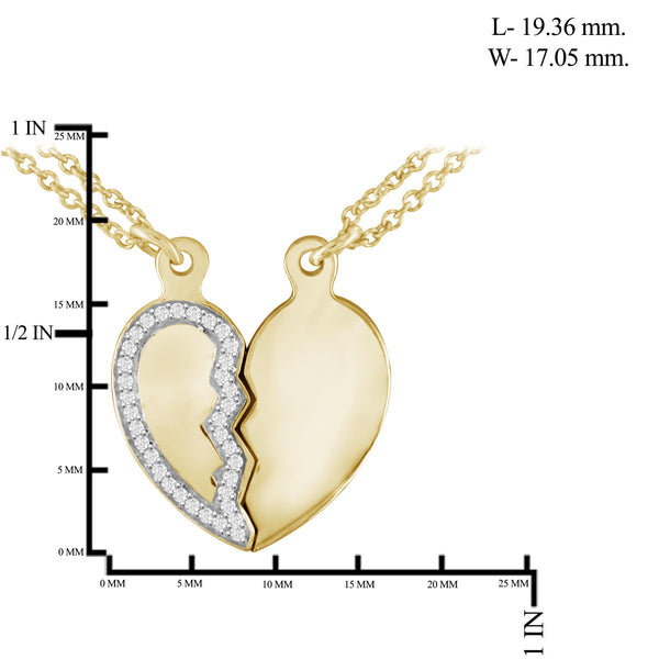 JewelonFire 1/10 Ctw White Diamond Sterling Silver Heart Pendant - Assorted Colors