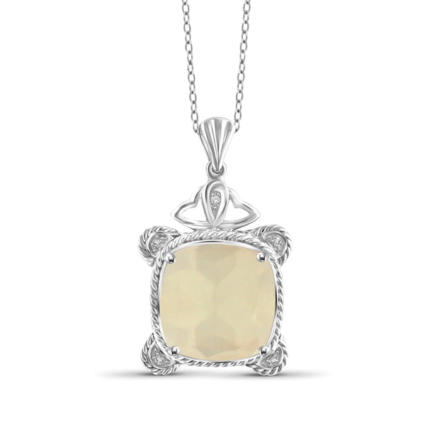 JewelonFire 9.5 Carat T.G.W. Moon & White Diamond Accent Sterling Silver Pendant - Assorted Color