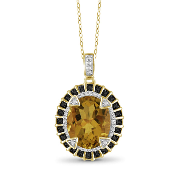 JewelonFire 1 1/2 Carat T.G.W. Whiskey And Black & White Diamond Accent 14kt Gold Over Silver Fashion Pendant